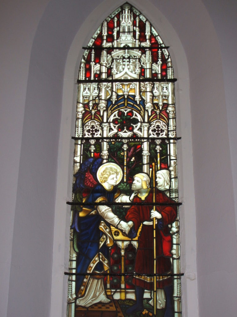 The stained-glass window at St. James' Church dedicated to Theodore