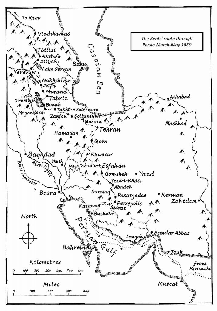 The Bents' route through Persia, March–May 1889. Drawn by Glyn Griffiths. © The Bent Archive.