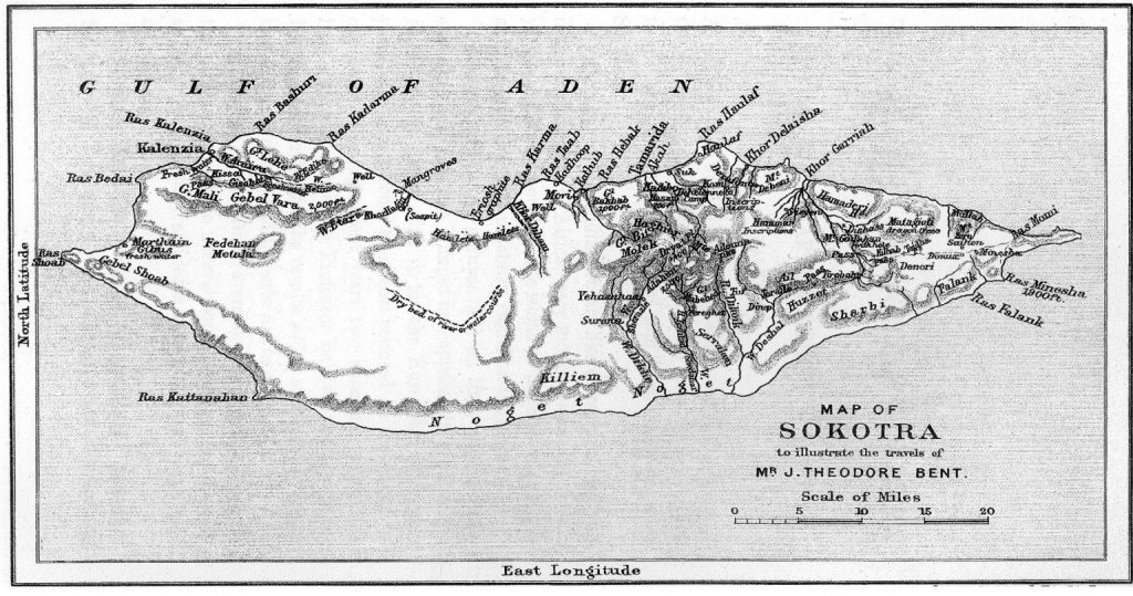 Map of 'Sokotra'. From the Bents' Southern Arabia (1900). Image © The Bent Archive
