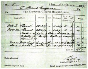 The Bents' hospital bill from Aden