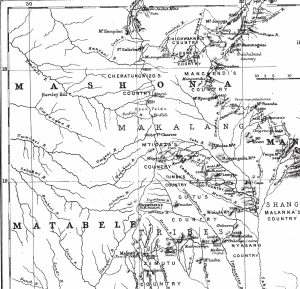Part of Matabele, Mashona and Manica Land, illustrating the journey of Theodore and Mabel